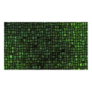 Green on Black Mosaic Pattern Pack Of Standard Business Cards