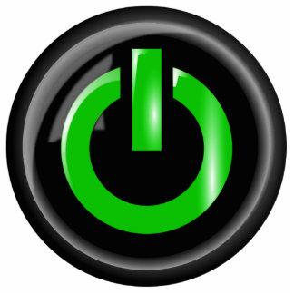 """ Green On "" Black Power Button Standing Photo Sculpture"