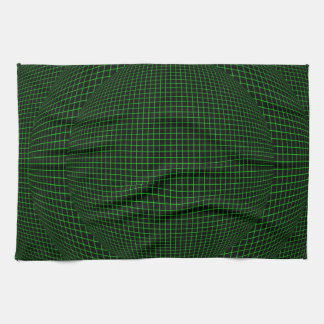 Green on Black virtual reality spheres Tea Towel
