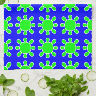 Green on blue sun design kitchen towel