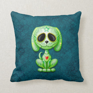 Green on Blue Zombie Sugar Puppy Cushion