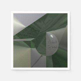 Green on Grey Abstract with Text Disposable Napkin