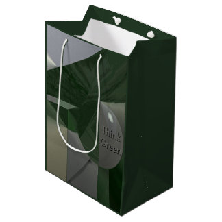 Green on Grey Abstract with Text Medium Gift Bag