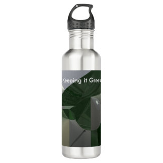 Green on Grey Abstract with Text 710 Ml Water Bottle