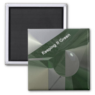 Green on Grey Abstract with Text Square Magnet