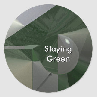 Green on Grey Abstract with Text Round Sticker