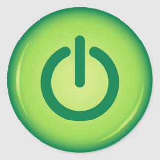 Green on off power button novelty stickers