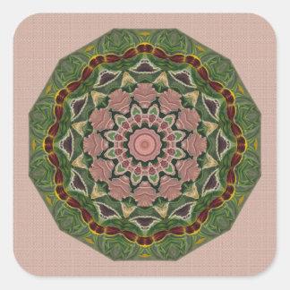 Green On Peach Square Sticker