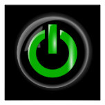 Green On Power Button - Black Posters