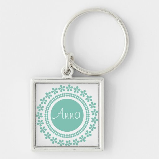 Green on white floral keychain with your name