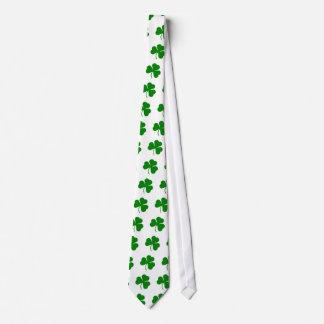 Green on white St Patricks day shamrock Tie