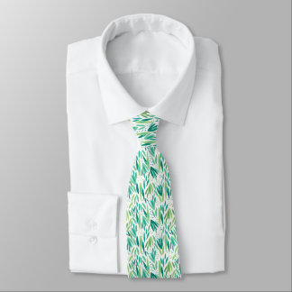 Green On White Tropical Leafs Seamless Pattern Tie