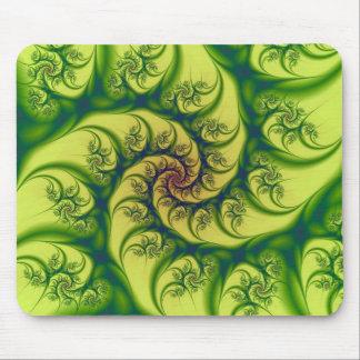 Green on Yellow Spiral Mousepad