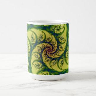 Green on Yellow Spiral Mug