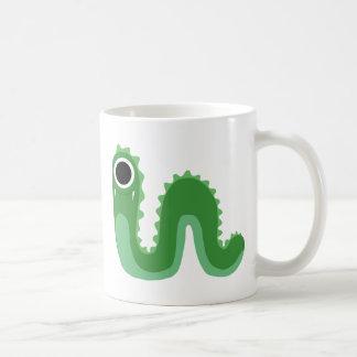 Green One Eyed Snake Monster Basic White Mug