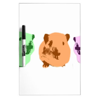Green orange a pink pop art guinea pig trio dry erase board