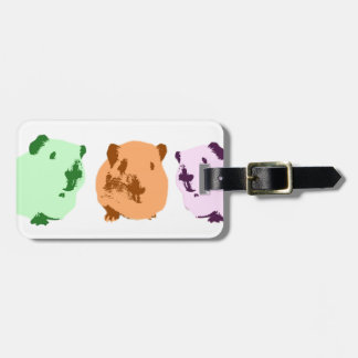 Green orange a pink pop art guinea pig trio luggage tag