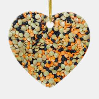 Green, Orange and Black Lentils Christmas Ornament