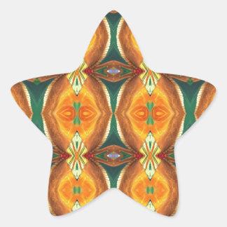 Green Orange Artistic Abstract Pattern Star Sticker