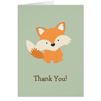 Green & Orange Baby Fox Thank You Card
