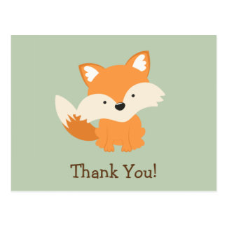 Green & Orange Baby Fox Thank You Postcard