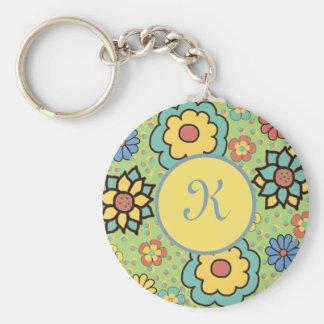Green Orange Blue Boho Monogram Personalized Basic Round Button Key Ring