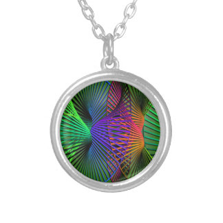 Green Orange Blue Helix Silver Plated Necklace
