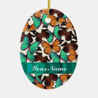 Green & orange butterflies christmas ornament