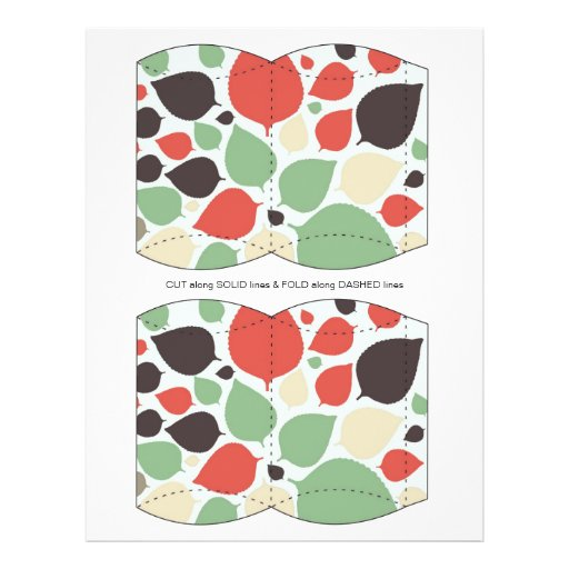 Green Orange  leaves Pillow Puff Box Template Flyers
