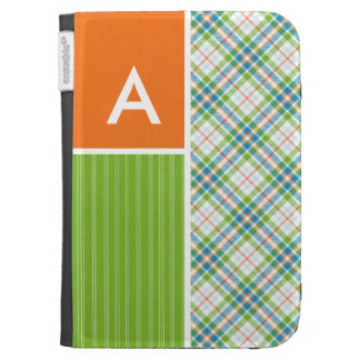 Green Orange Plaid Kindle 3 Covers