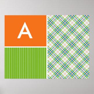 Green, Orange Plaid Poster