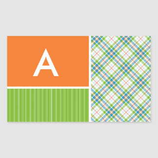 Green, Orange Plaid Rectangular Sticker