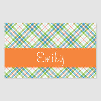 Green & Orange Plaid Rectangular Sticker