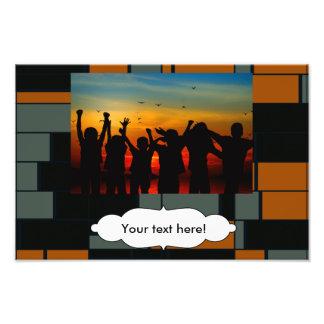 Green orange rectangles photo print