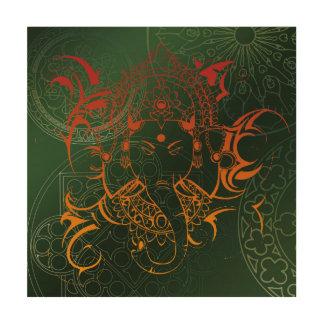green orange red Elephant Ganesha Mandala Wood Print