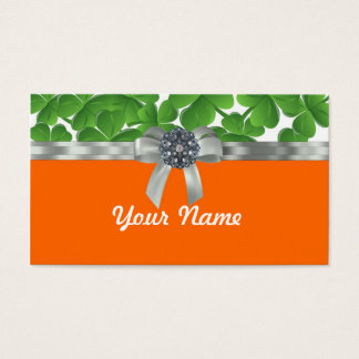 Green & orange shamrock pattern business card