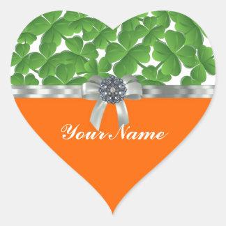 Green & orange shamrock pattern heart stickers