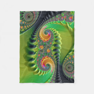 Green Orange Spirals Fine Fractal Art Fleece Blanket