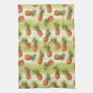 Green Orange Tropical Pineapple Fruit Pattern Tea Towel