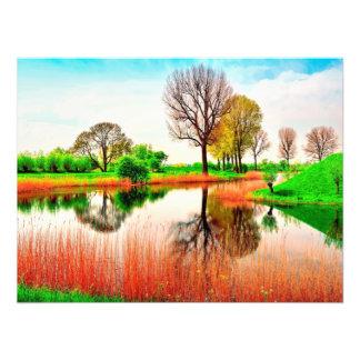 Green Orange white Pretty cool lake Photo Print