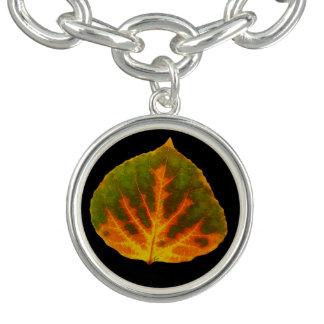 Green Orange & Yellow Aspen Leaf #1