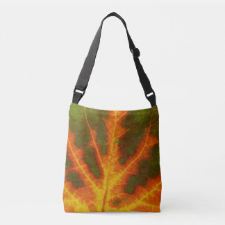 Green Orange & Yellow Aspen Leaf #1 Crossbody Bag