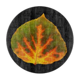 Green Orange & Yellow Aspen Leaf #1 Cutting Board