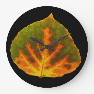 Green Orange & Yellow Aspen Leaf #1 Large Clock