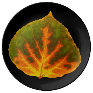 Green Orange & Yellow Aspen Leaf #1 Plate
