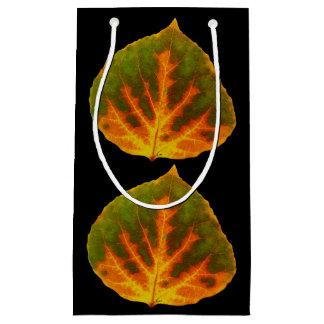 Green Orange & Yellow Aspen Leaf #1 Small Gift Bag