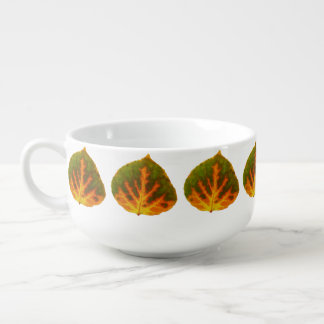 Green Orange & Yellow Aspen Leaf #1 Soup Mug