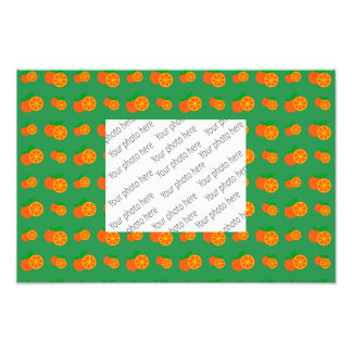 Green oranges pattern photographic print