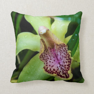 Green Orchid Throw Pillow Throw Cushions