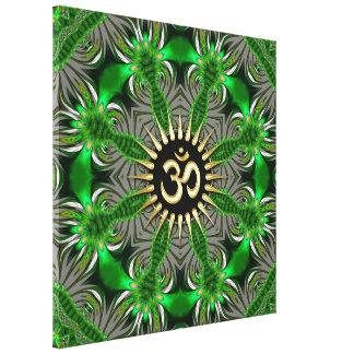 Green Organic Gold Om Sign Mandala New Age Canvas Canvas Prints